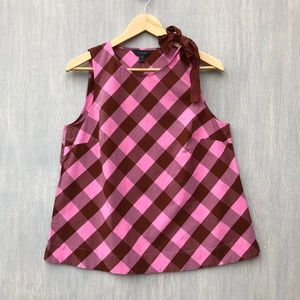 NWT J. Crew bow-shoulder top gingham pink 10